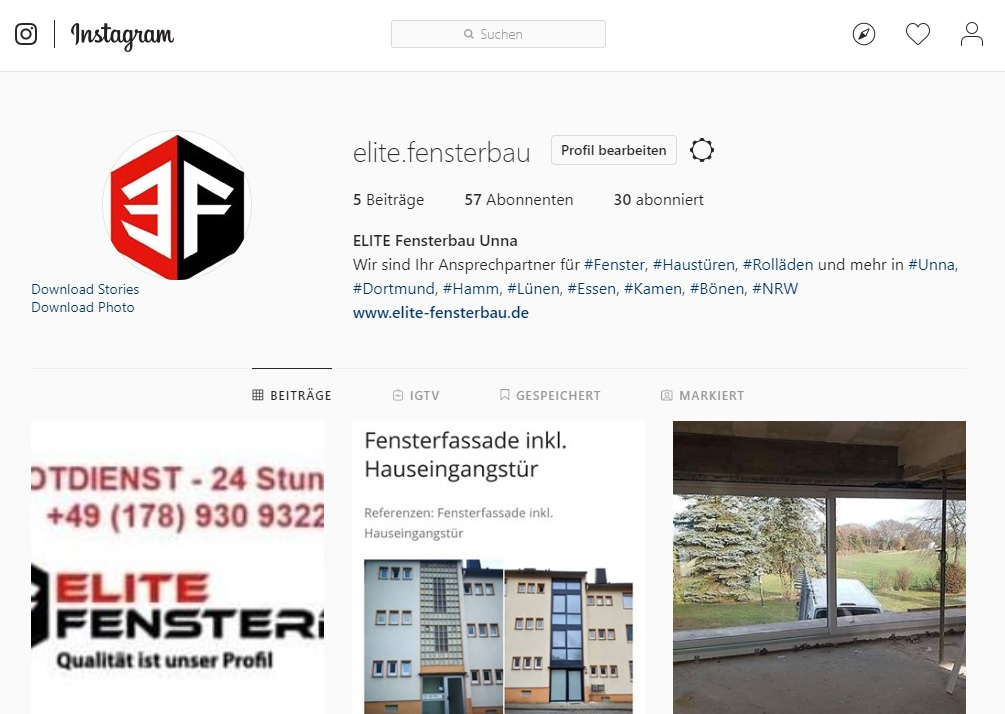 Elite Fensterbau Instagram