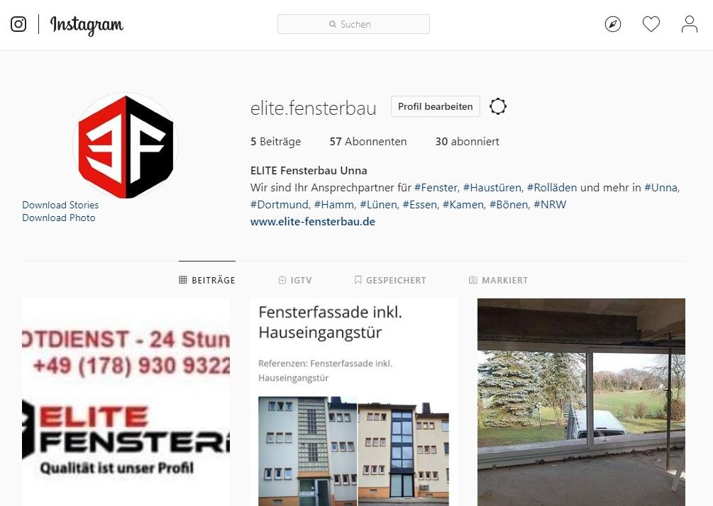 Elite Fensterbau Instagram