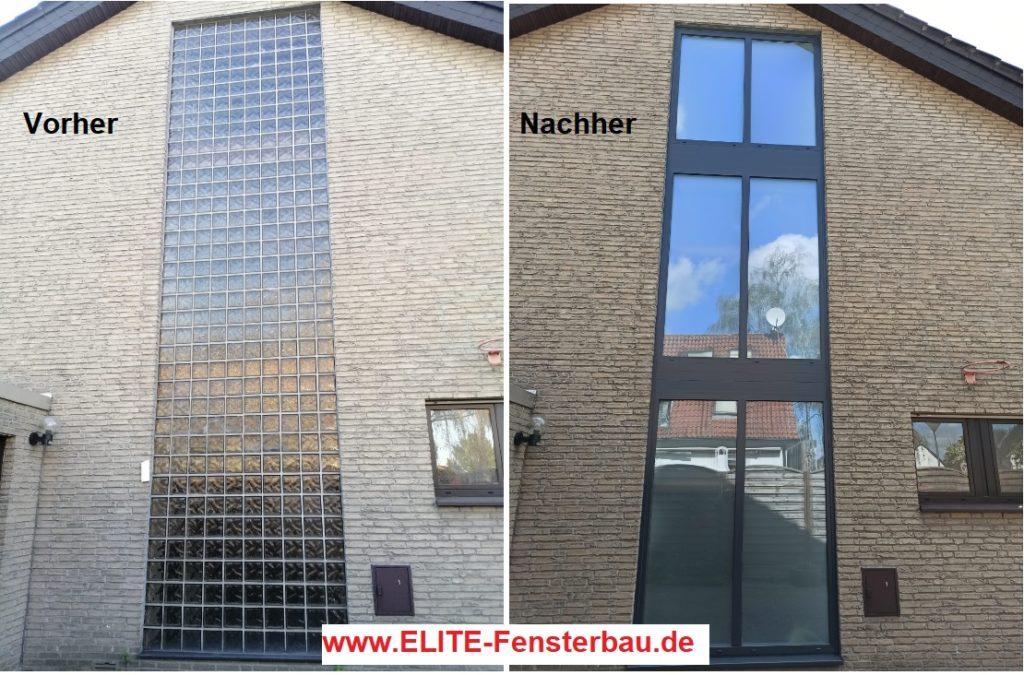 Glasbausteine - Glasfassade durch Fenster - Fensterfassade ersetzen.