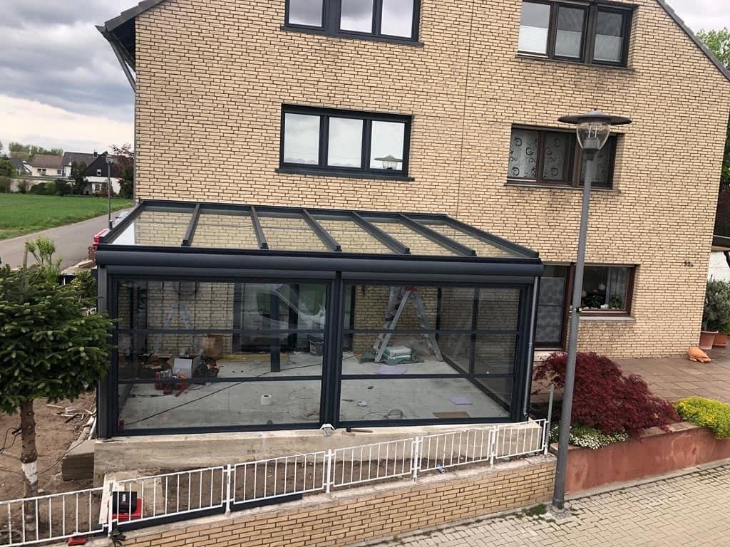 Terrassenüberdachung +Insektenschutz-Rollo + LED - Wintergarten - Referenz aus der Nähe von Köln